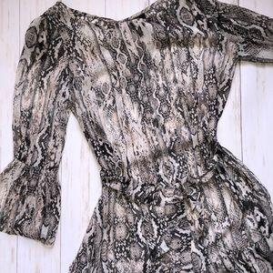 MSK Belted Snakeskin Print Bell Sleeve Dress